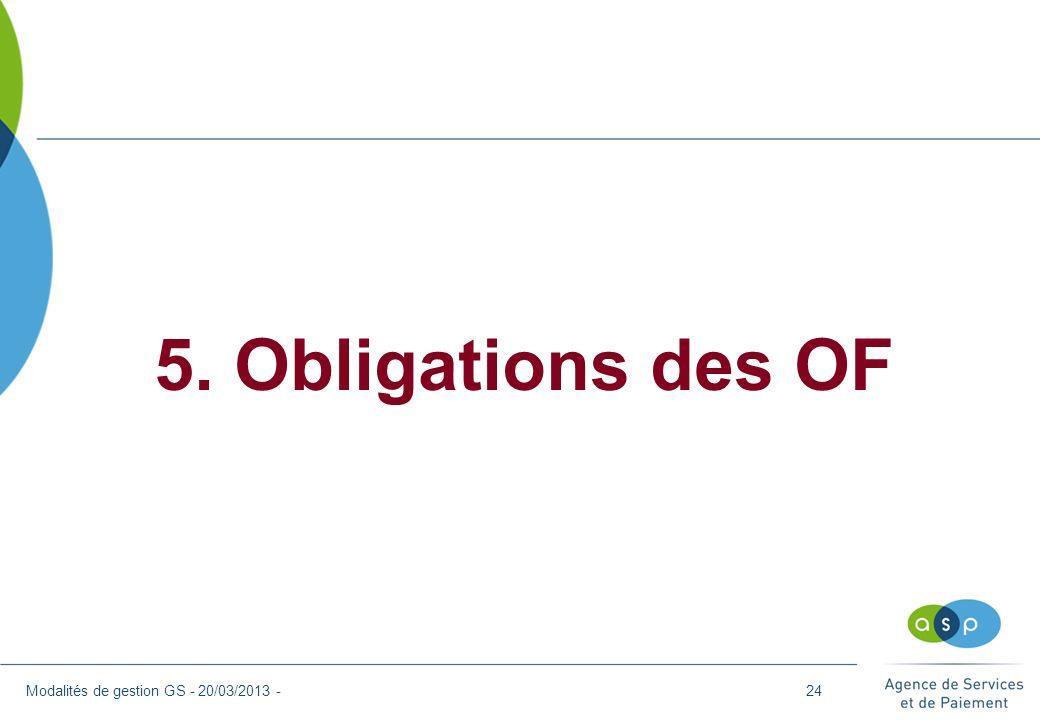 5. Obligations des OF Modalités de gestion GS - 20/03/2013 -