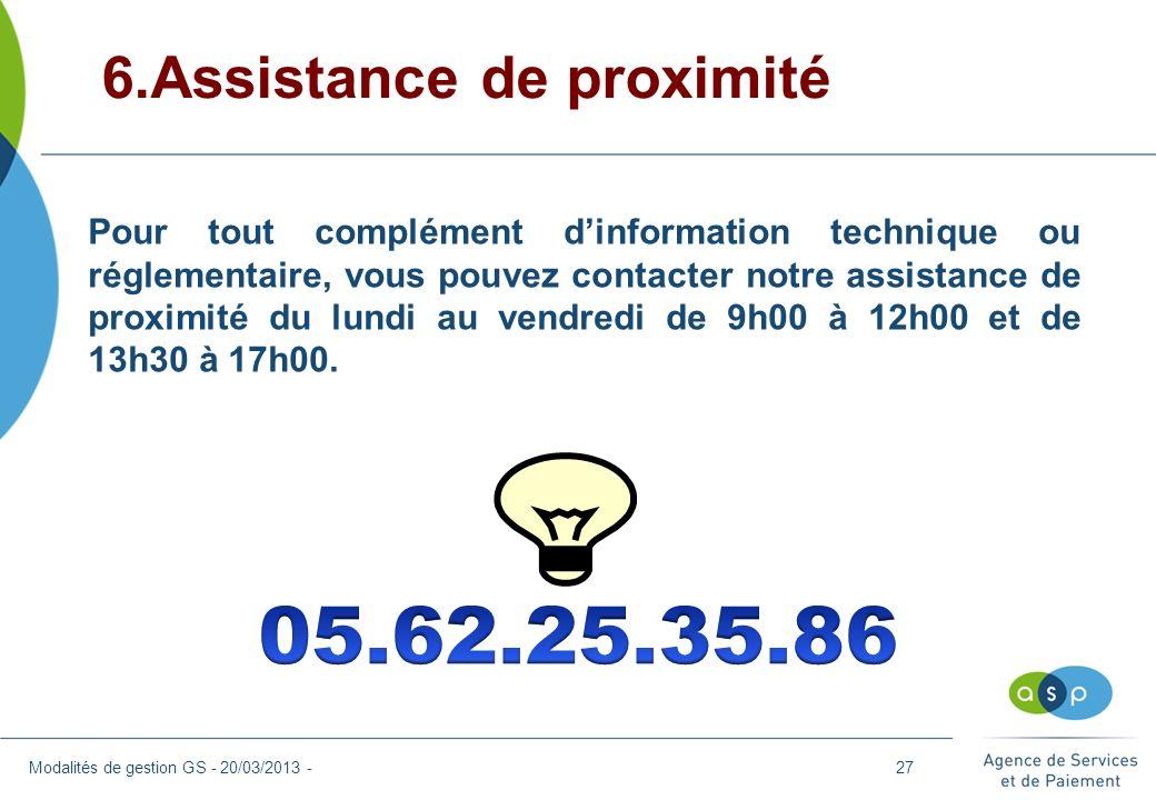 05.62.25.35.86 6.Assistance de proximité