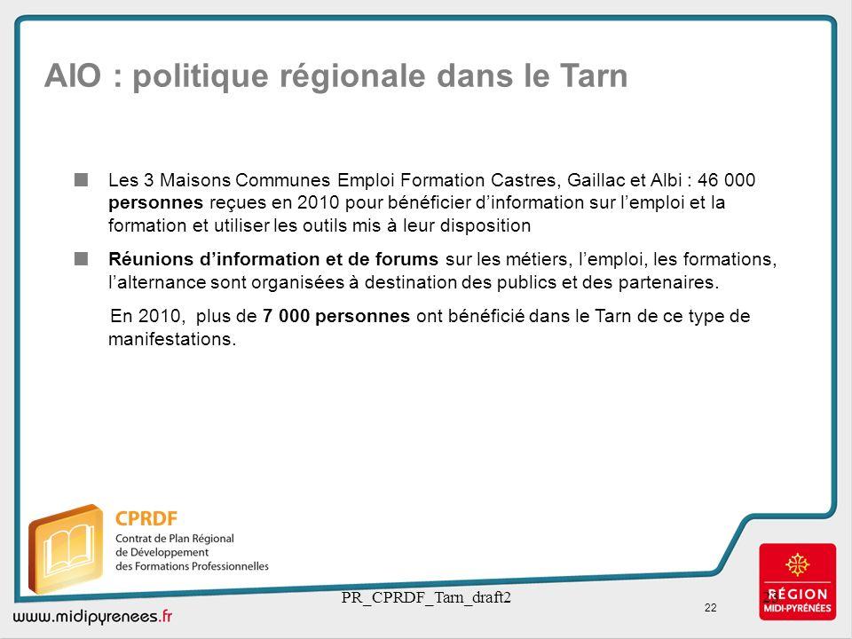 AIO : politique régionale dans le Tarn