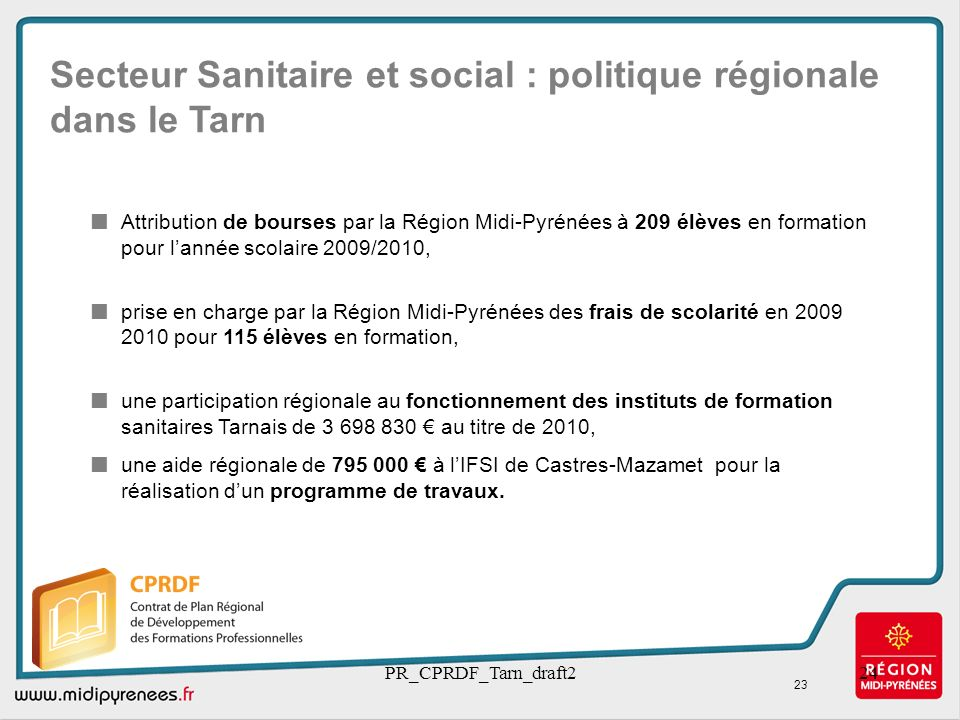 Secteur Sanitaire et social : politique régionale dans le Tarn