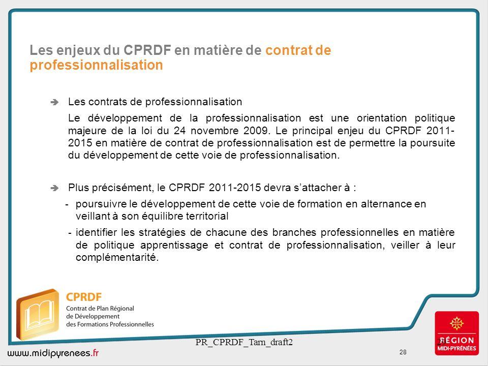 Les enjeux du CPRDF en matière de contrat de professionnalisation