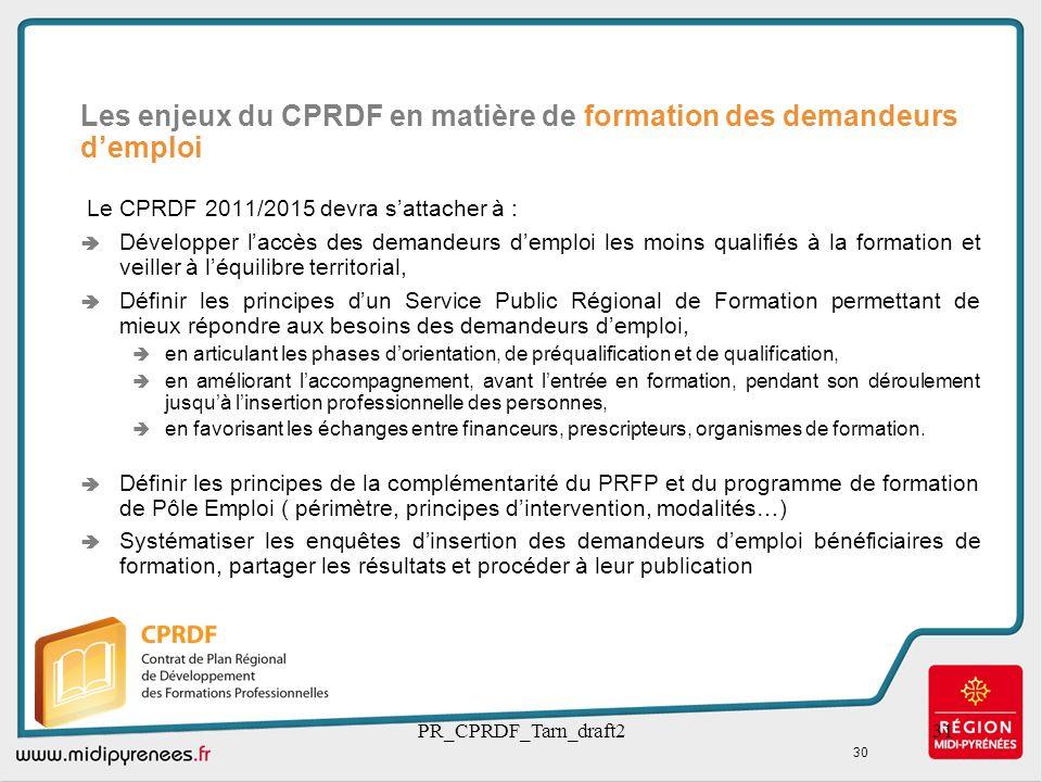 Les enjeux du CPRDF en matière de formation des demandeurs d'emploi