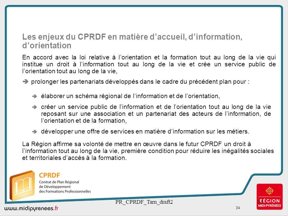 Les enjeux du CPRDF en matière d'accueil, d'information, d'orientation