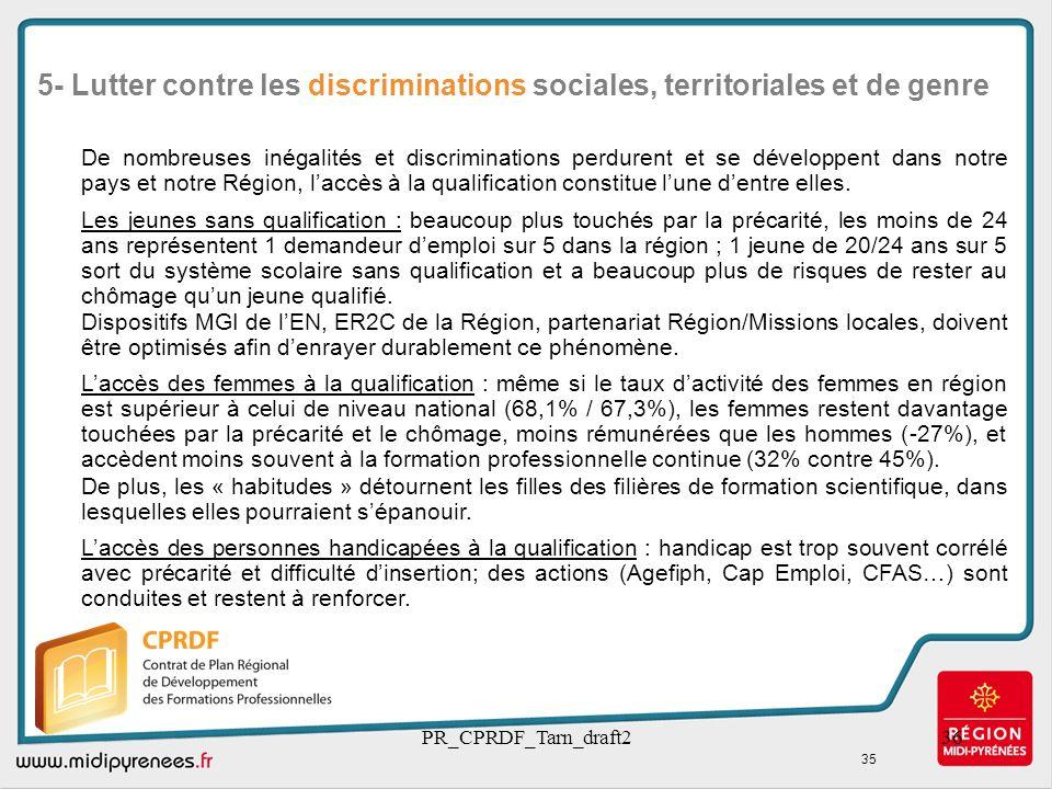5- Lutter contre les discriminations sociales, territoriales et de genre