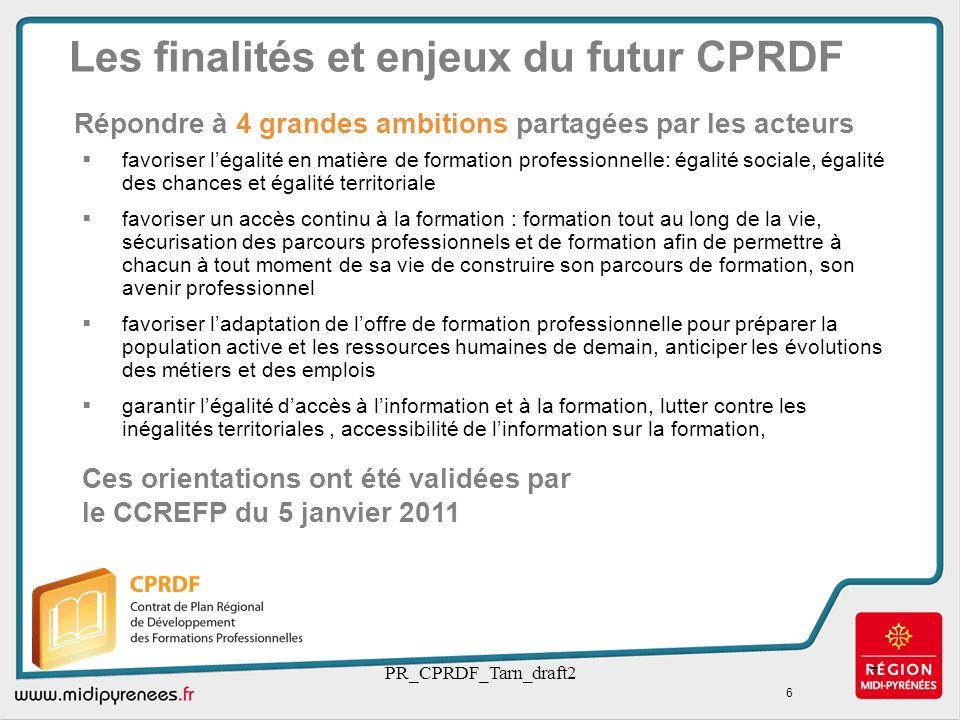 Les finalités et enjeux du futur CPRDF