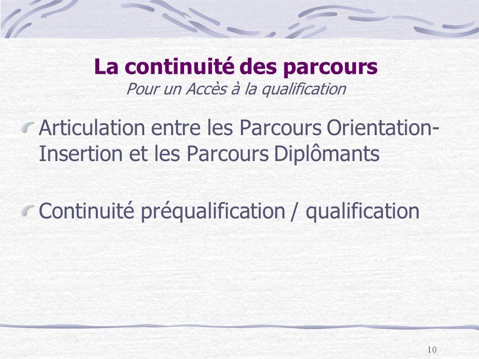 La continuité des parcours Pour un Accès à la qualification