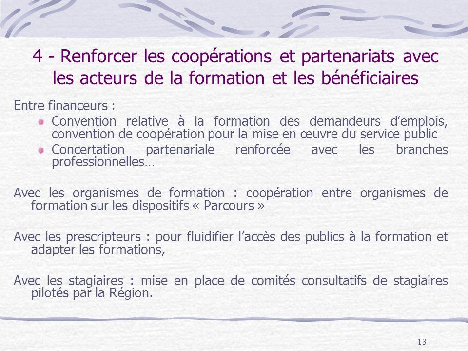 4 - Renforcer les coopérations et partenariats avec les acteurs de la formation et les bénéficiaires