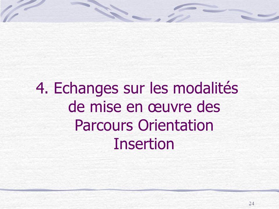 4. Echanges sur les modalités de mise en œuvre des Parcours Orientation Insertion
