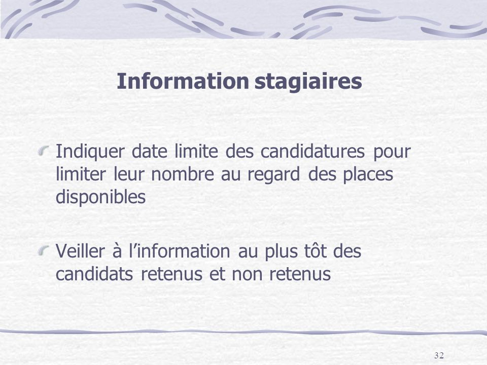 Information stagiaires