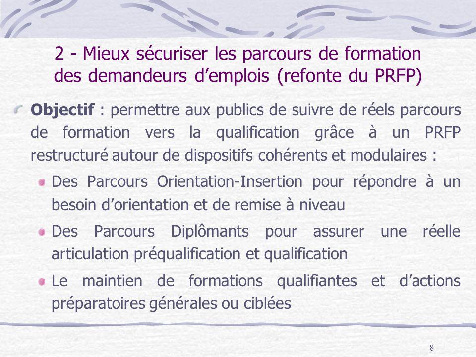 2 - Mieux sécuriser les parcours de formation des demandeurs d'emplois (refonte du PRFP)