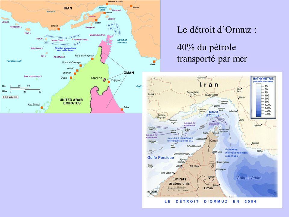 Le détroit d'Ormuz : 40% du pétrole transporté par mer