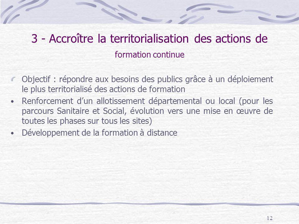 3 - Accroître la territorialisation des actions de formation continue