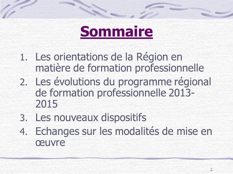 Sommaire Les orientations de la Région en matière de formation professionnelle.