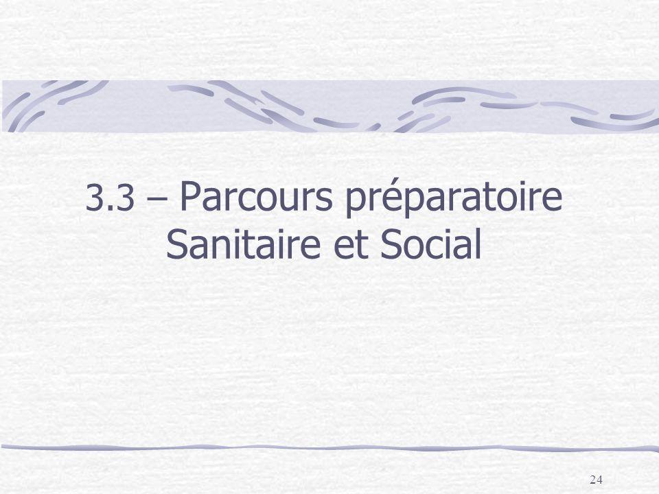 3.3 – Parcours préparatoire Sanitaire et Social