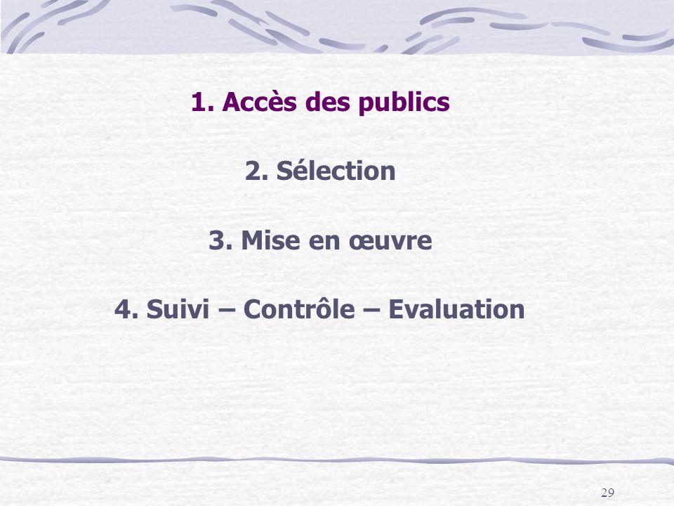 4. Suivi – Contrôle – Evaluation