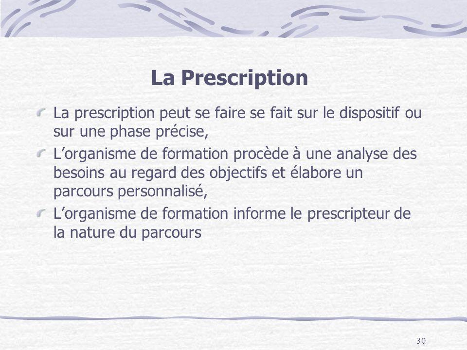 La Prescription La prescription peut se faire se fait sur le dispositif ou sur une phase précise,