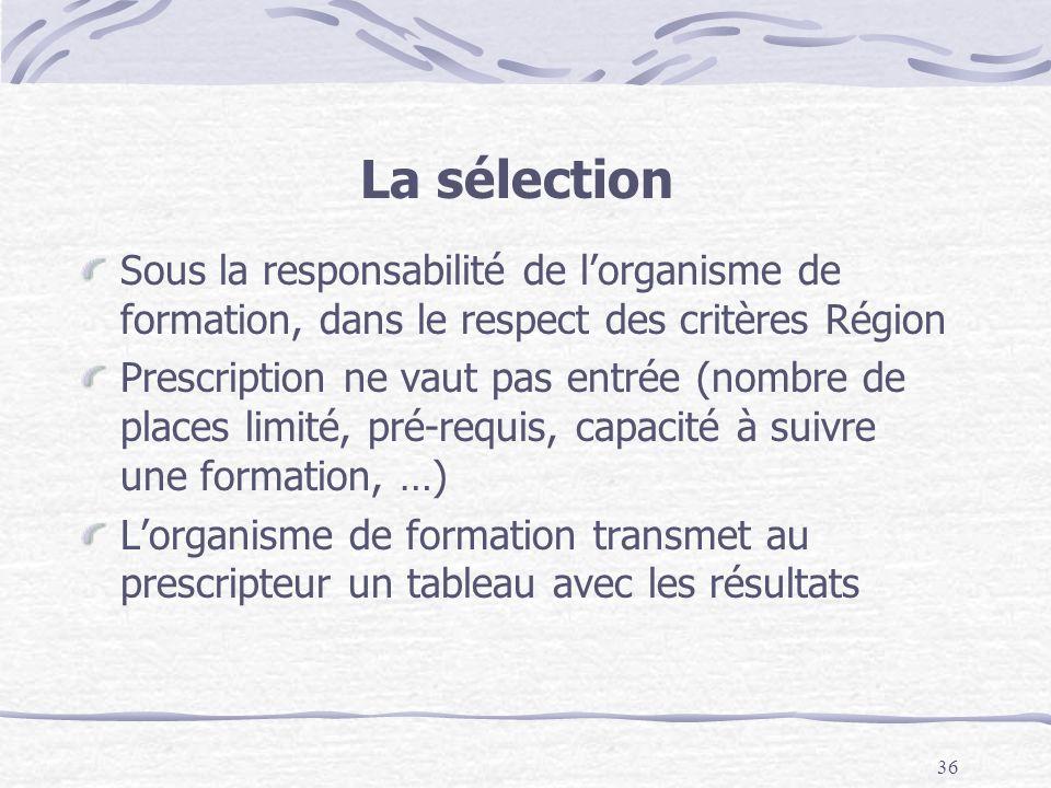 La sélection Sous la responsabilité de l'organisme de formation, dans le respect des critères Région.