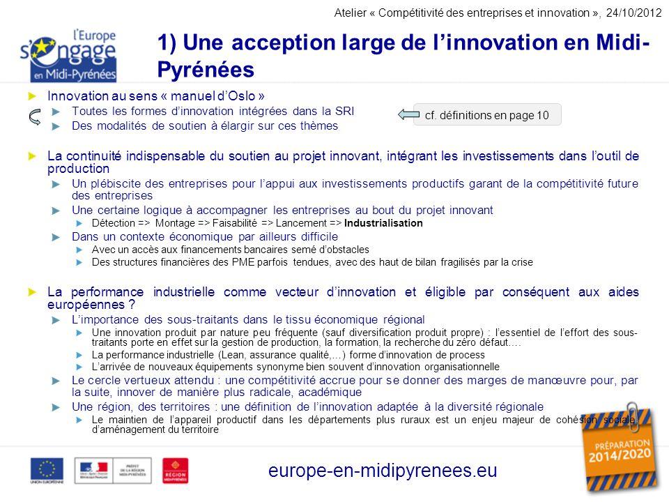 1) Une acception large de l'innovation en Midi-Pyrénées