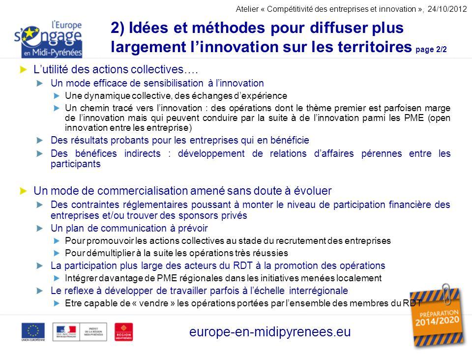 Atelier « Compétitivité des entreprises et innovation », 24/10/2012