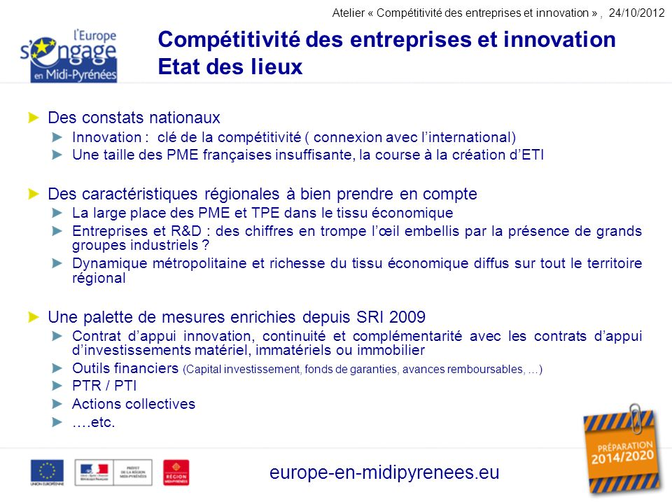 Compétitivité des entreprises et innovation Etat des lieux