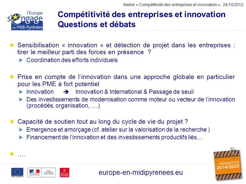 Compétitivité des entreprises et innovation Questions et débats
