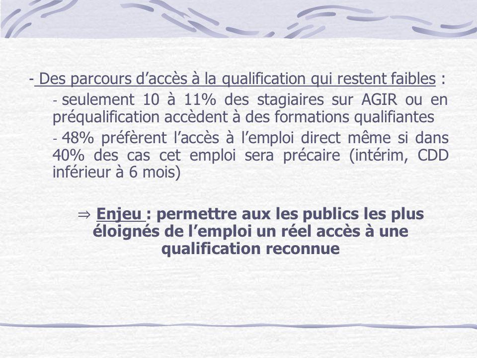 Des parcours d'accès à la qualification qui restent faibles :