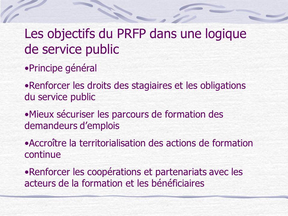Les objectifs du PRFP dans une logique de service public