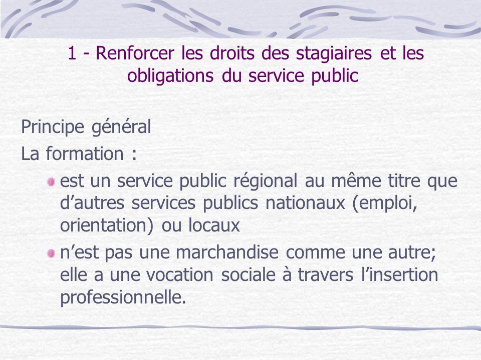 1 - Renforcer les droits des stagiaires et les obligations du service public