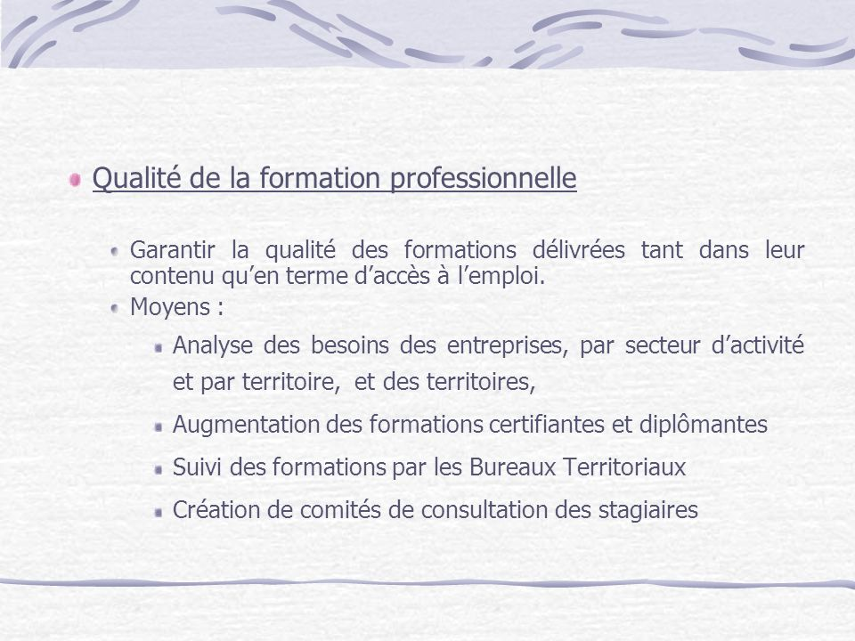 Qualité de la formation professionnelle