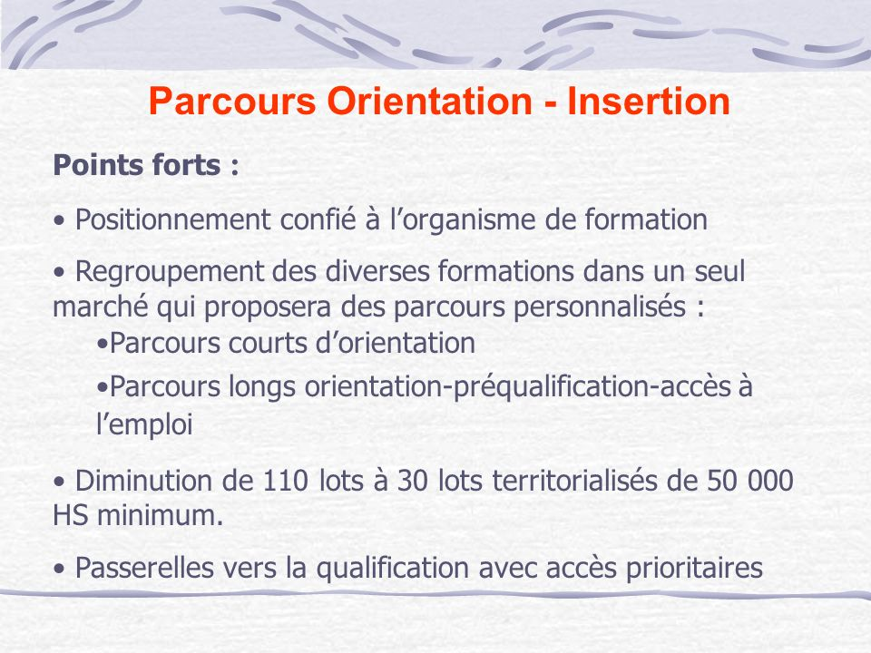 Parcours Orientation - Insertion