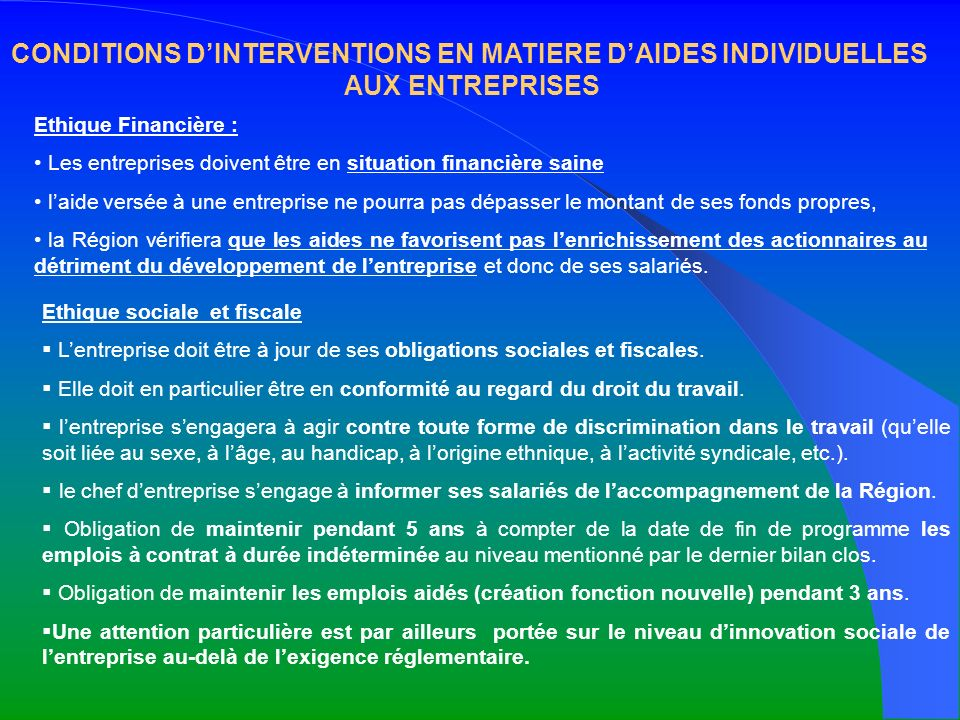 CONDITIONS D'INTERVENTIONS EN MATIERE D'AIDES INDIVIDUELLES