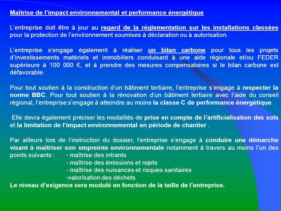 Maîtrise de l'impact environnemental et performance énergétique