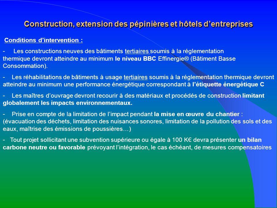 Construction, extension des pépinières et hôtels d'entreprises