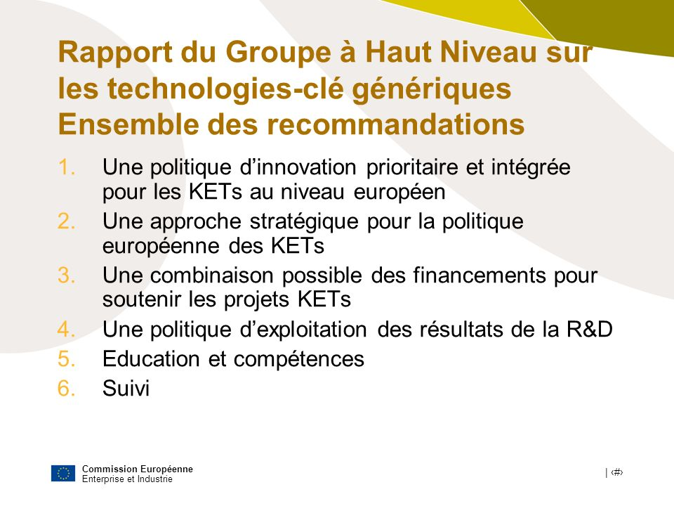 Rapport du Groupe à Haut Niveau sur les technologies-clé génériques Ensemble des recommandations