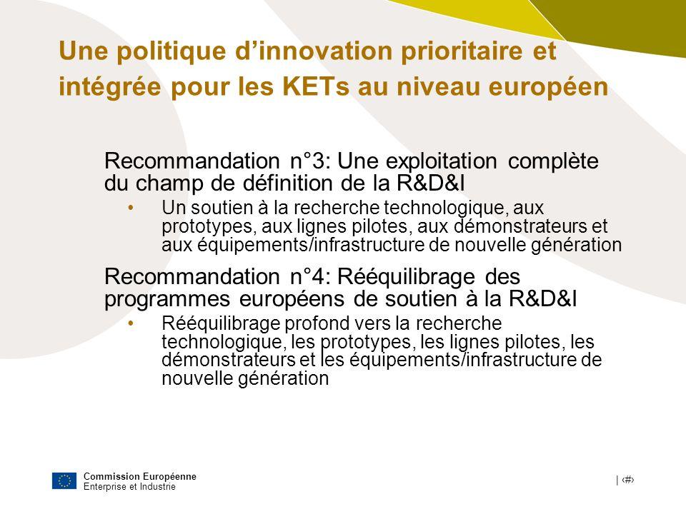 Une politique d'innovation prioritaire et intégrée pour les KETs au niveau européen