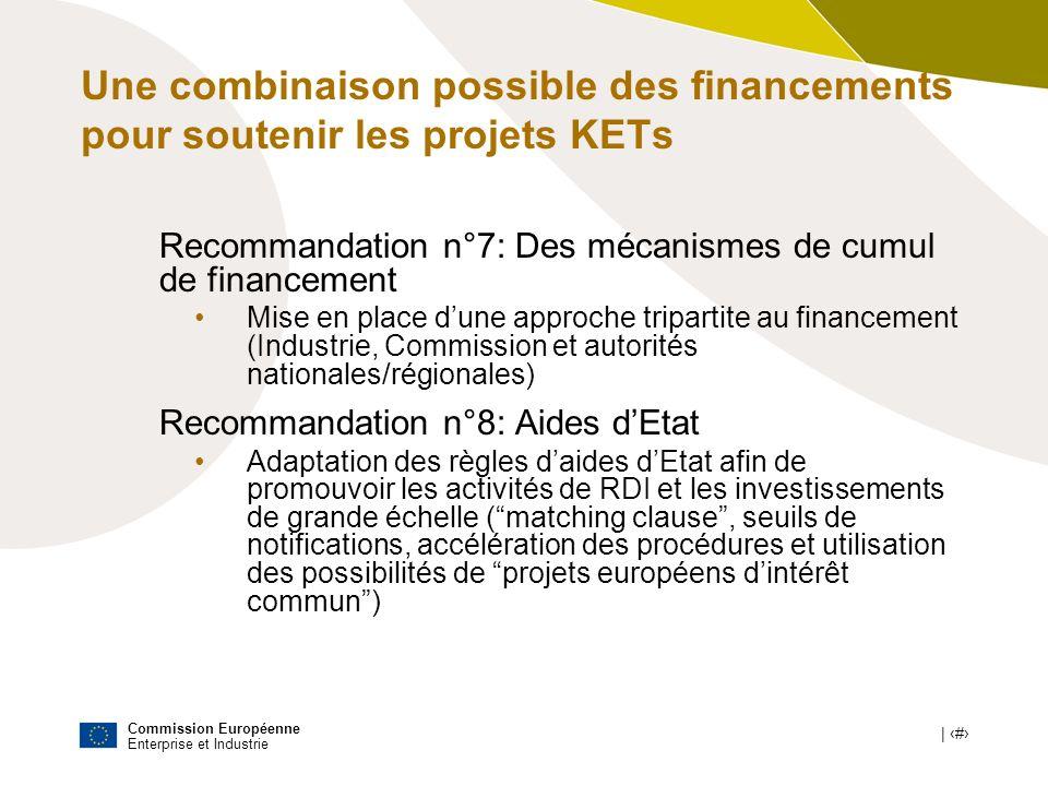 Une combinaison possible des financements pour soutenir les projets KETs