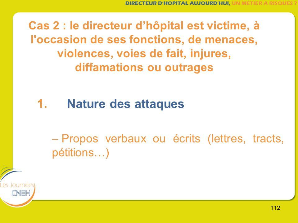 Cas 2 : le directeur d'hôpital est victime, à l occasion de ses fonctions, de menaces, violences, voies de fait, injures, diffamations ou outrages