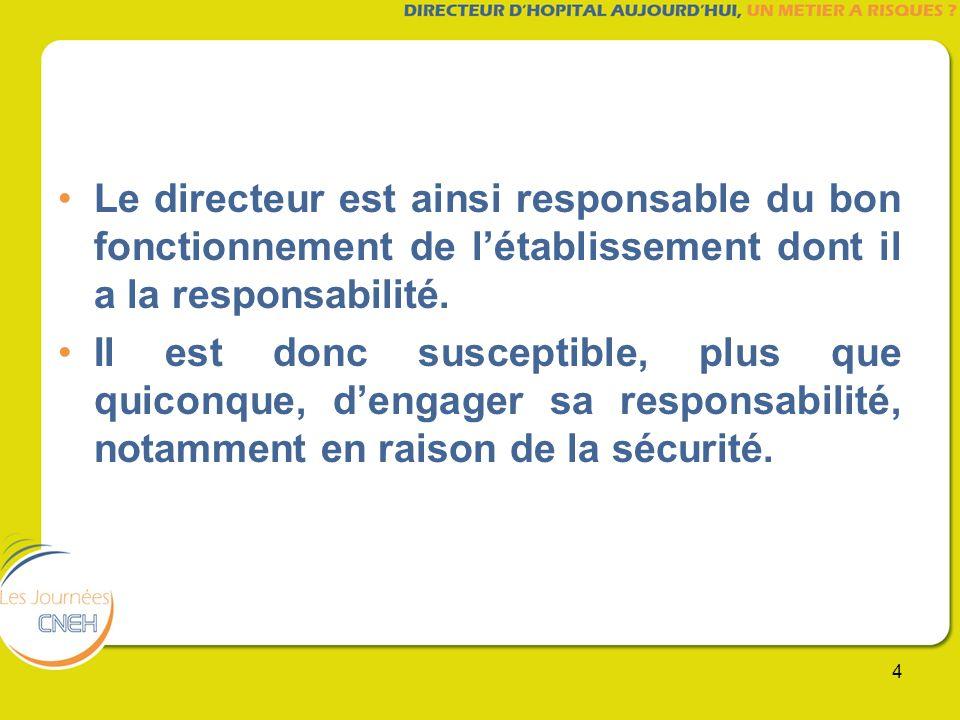 Le directeur est ainsi responsable du bon fonctionnement de l'établissement dont il a la responsabilité.