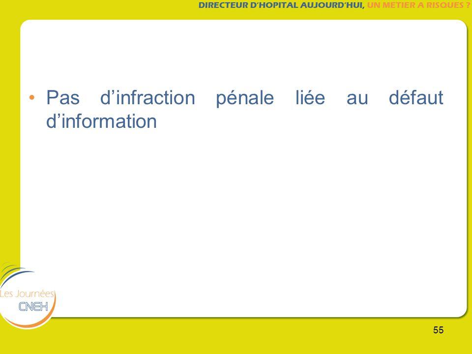 Pas d'infraction pénale liée au défaut d'information
