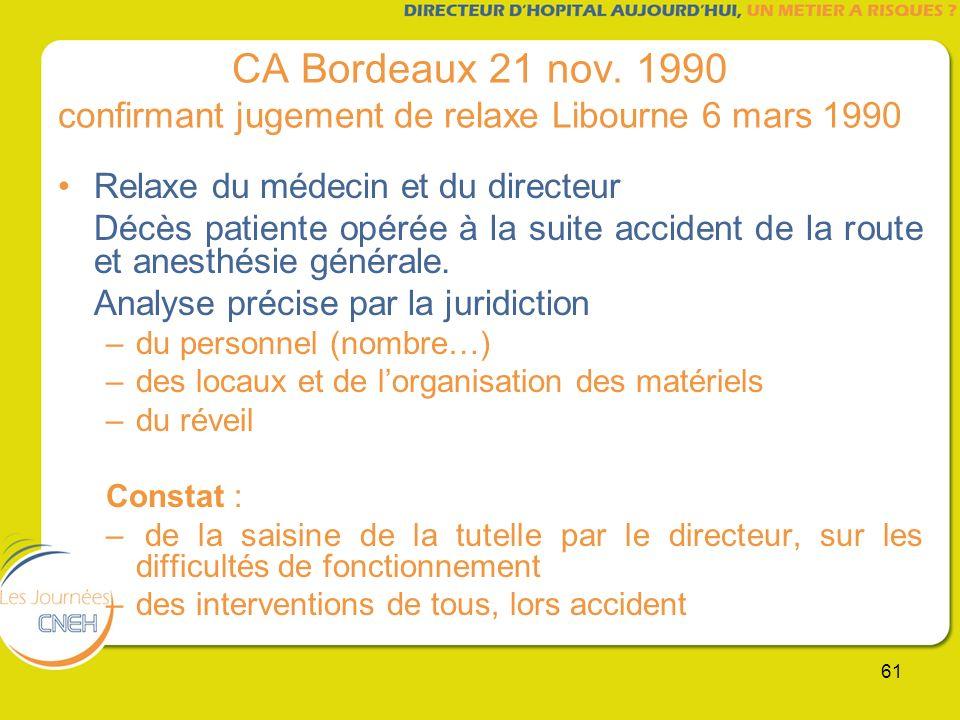 CA Bordeaux 21 nov. 1990 confirmant jugement de relaxe Libourne 6 mars 1990