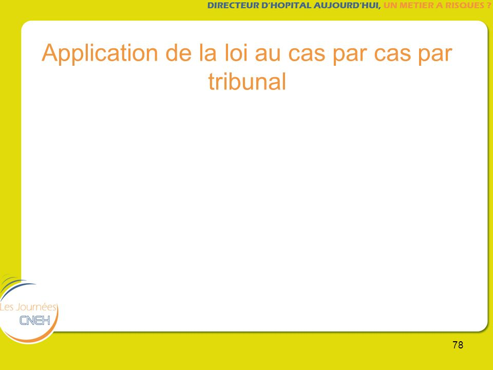 Application de la loi au cas par cas par tribunal