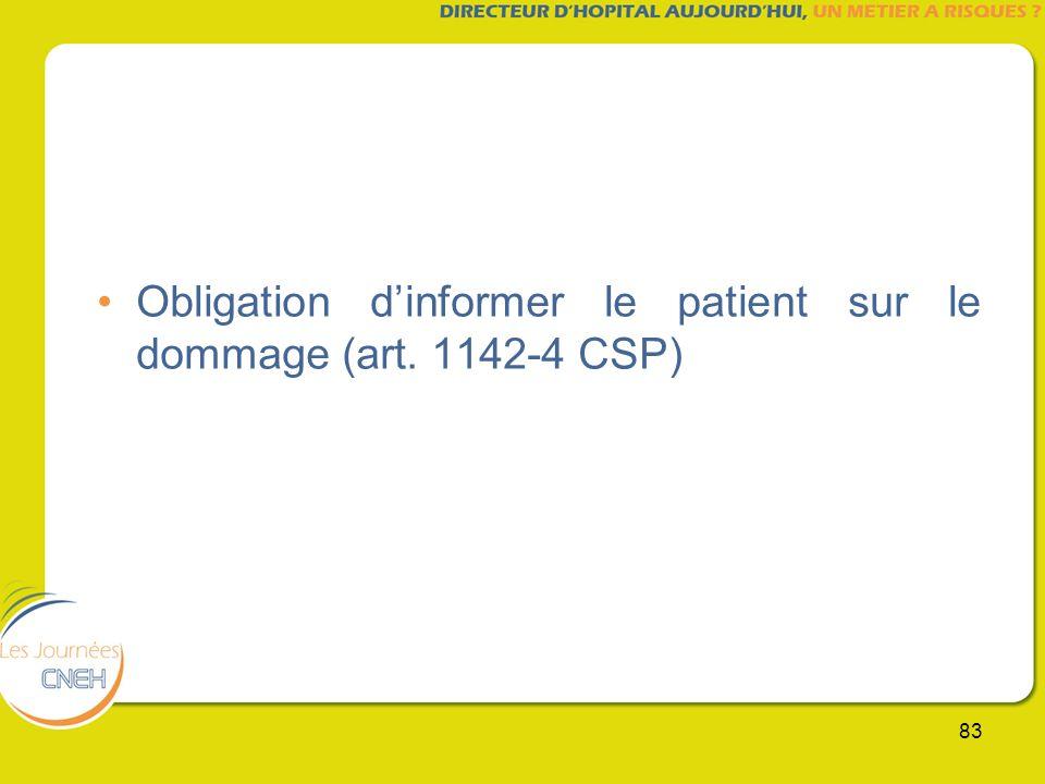 Obligation d'informer le patient sur le dommage (art. 1142-4 CSP)