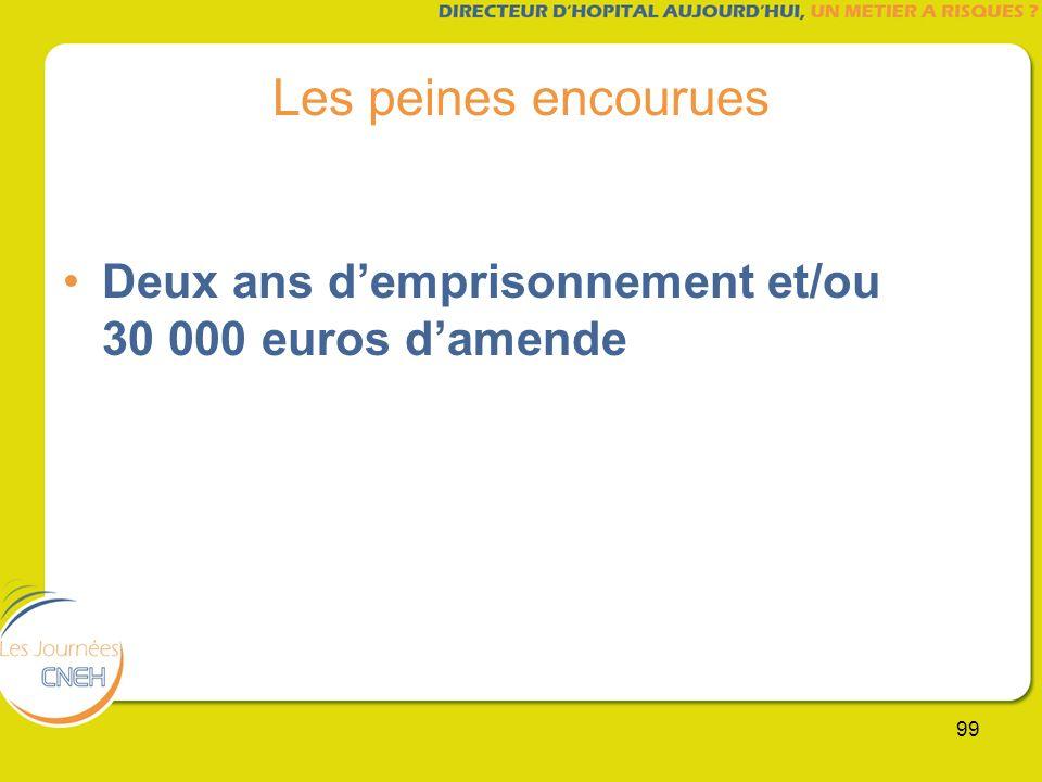 Les peines encourues Deux ans d'emprisonnement et/ou 30 000 euros d'amende