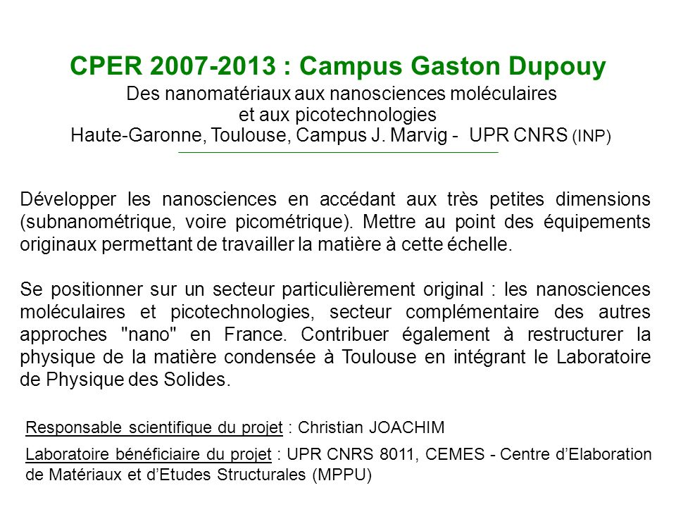CPER 2007-2013 : Campus Gaston Dupouy