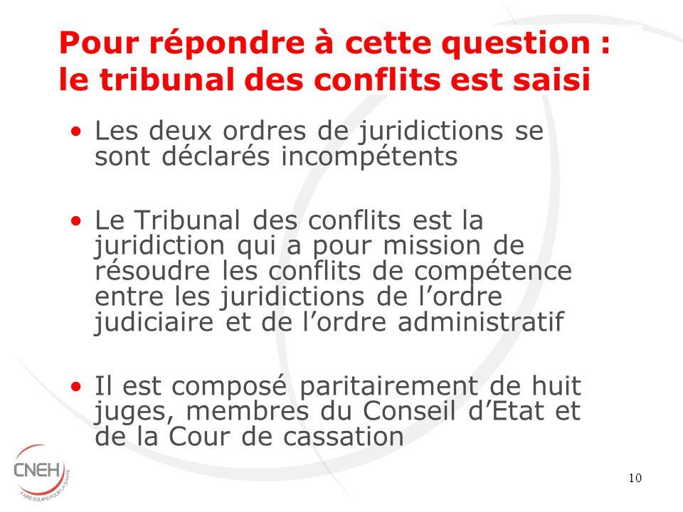 Pour répondre à cette question : le tribunal des conflits est saisi