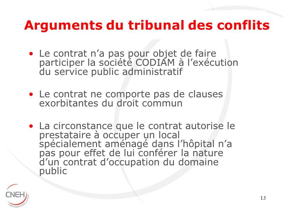 Arguments du tribunal des conflits