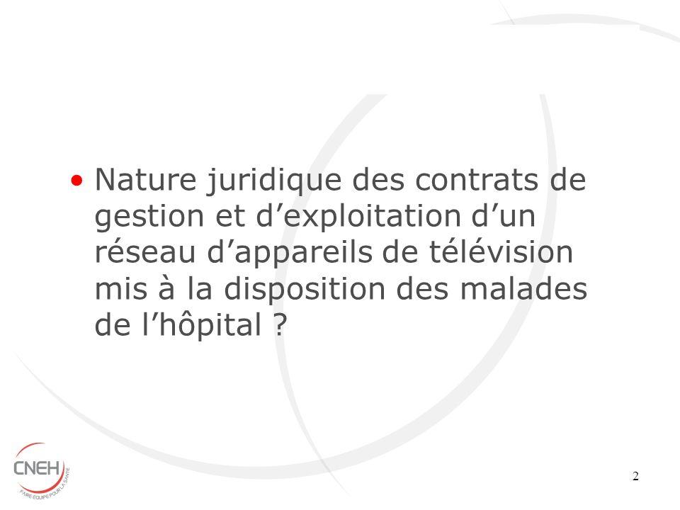 Nature juridique des contrats de gestion et d'exploitation d'un réseau d'appareils de télévision mis à la disposition des malades de l'hôpital