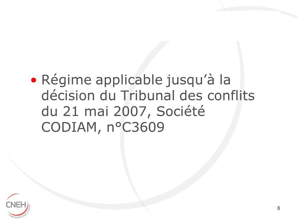 Régime applicable jusqu'à la décision du Tribunal des conflits du 21 mai 2007, Société CODIAM, n°C3609