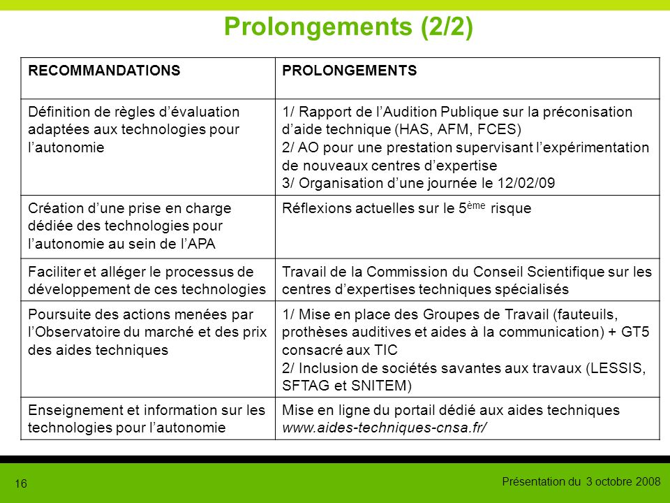 Prolongements (2/2) RECOMMANDATIONS PROLONGEMENTS