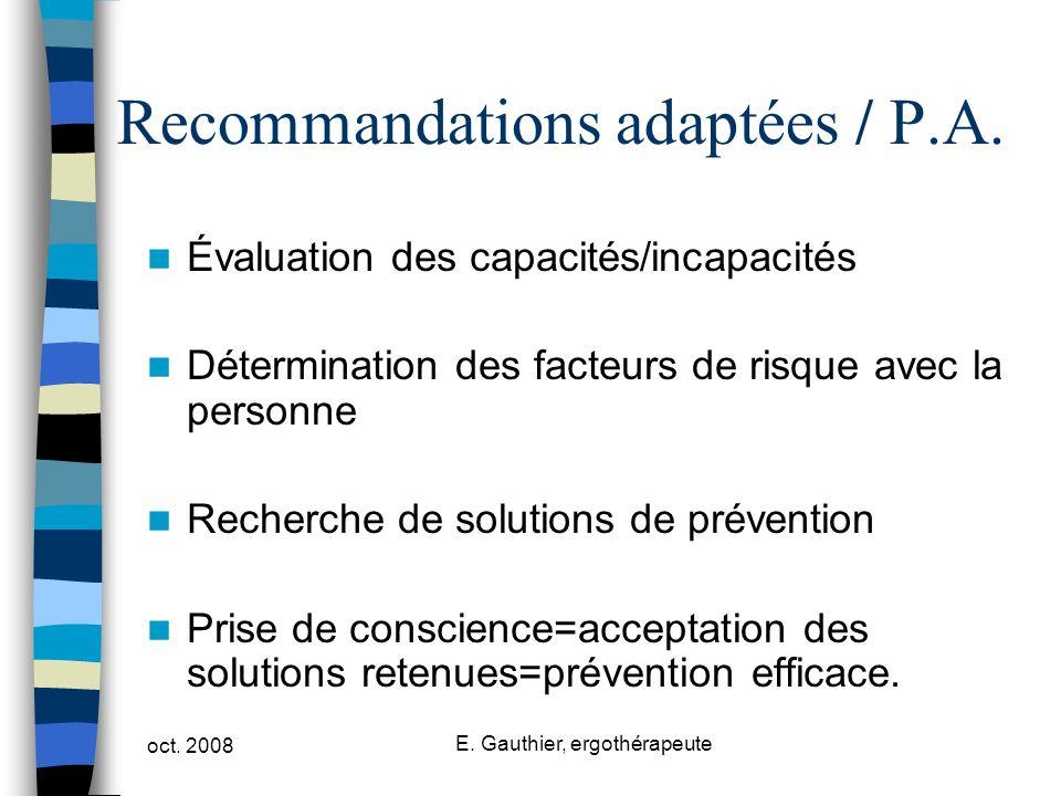 Recommandations adaptées / P.A.
